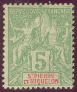 Timbres de St Pierre et Miquelon année 1900-1909