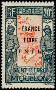 Timbres de St Pierre et Miquelon année 1942