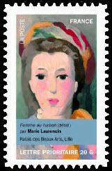 Portraits de femmes dans la peinture, Femme au turban (détail) par Marie Laurencin Palais des Beaux-Arts, Lille