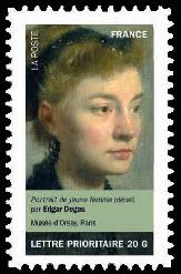 Portraits de femmes dans la peinture, Portrait de jeune femme (détail) par Edgar de Gas Musée d'Orsay, Paris