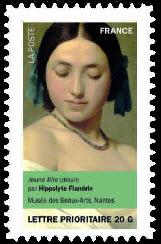 Portraits de femmes dans la peinture, Jeune fille (détail) par Hippolyte Flandrin Musée des beaux-Arts, Nantes