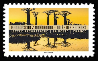 carnet reflets paysages du monde madagascar morondava all e des baobabs timbre n 1368. Black Bedroom Furniture Sets. Home Design Ideas