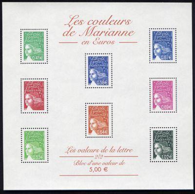 les couleurs de marianne timbre fran ais bloc feuillet n. Black Bedroom Furniture Sets. Home Design Ideas