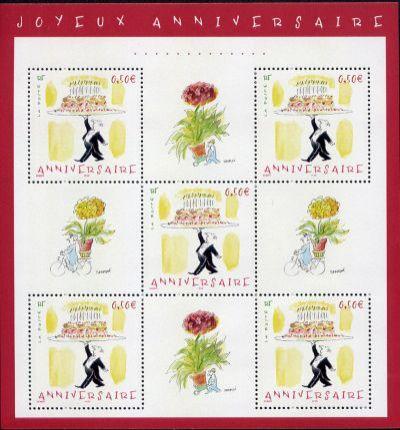 timbres pour anniversaires timbre fran ais bloc feuillet n 75 de couleur x mis en 2004. Black Bedroom Furniture Sets. Home Design Ideas