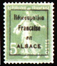 'Semeuse fond plein sans sol à inscription grasse Typographie Timbre non émis suchargé ''Réoccupation française en ALSACE'''