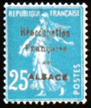 Semeuse fond plein sans sol avec surcharge 5 c carmin au profit de la croix rouge Typographie Timbre non émis suchargé «Réoccupation française en ALSACE»
