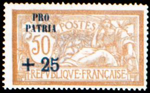 Type Merson Timbre non émis surchargé «PRO PATRIA» + une valeur surcharge et valeur en rouge