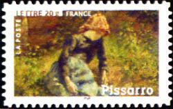 Peinture : les impressionnistes Camille Pissarro « Jeune fille à la baguette » 1881