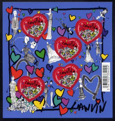 coeur lanvin timbre fran ais bloc feuillet n 129 de couleur multicolore mis en 2010. Black Bedroom Furniture Sets. Home Design Ideas