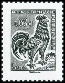 La Vème république au fil du timbre, Coq de Decaris