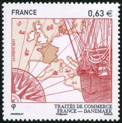 trait de commerce france danemark timbre fran ais n 4817 de couleur multicolore mis en 2013. Black Bedroom Furniture Sets. Home Design Ideas