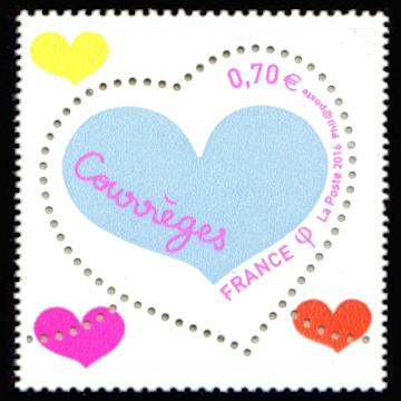 Coeur Courrèges rose et gris