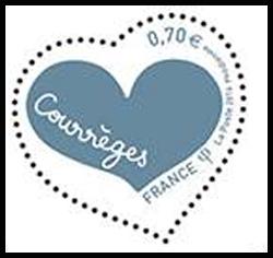 Coeur Courrèges inscription bleu clair