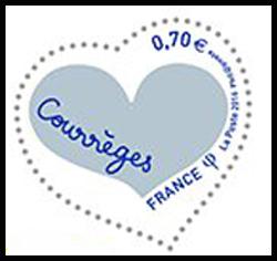 Coeur Courrèges inscription bleu foncé