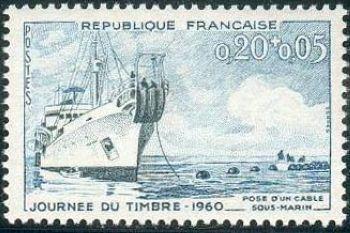 Journée du timbre - Pose d'un câble sous- marin
