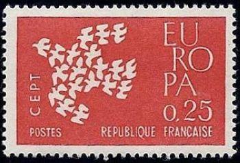 europa timbres de france mis en 1961. Black Bedroom Furniture Sets. Home Design Ideas