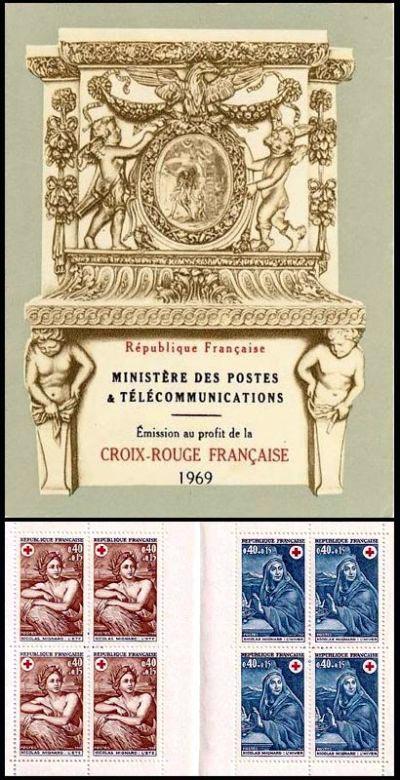 carnet croix rouge timbres de france mis en 1969. Black Bedroom Furniture Sets. Home Design Ideas