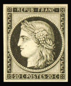 Cérès noir, premier timbre français 1849