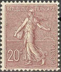 semeuse timbre fran ais n 131 de couleur brun lilas mis en 1903 1924. Black Bedroom Furniture Sets. Home Design Ideas