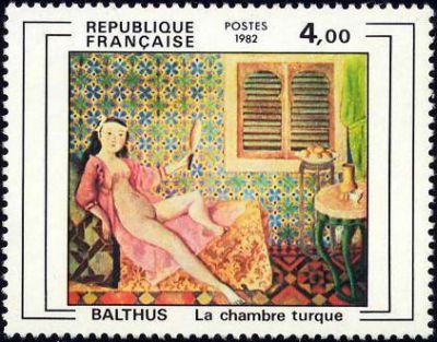 39 la chambre turc 39 oeuvre de balthus timbre fran ais n for Balthus la chambre turque