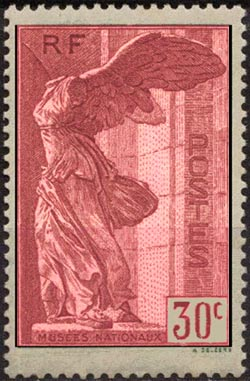 victoire de samothrace timbre fran ais n 354a de couleur rouge mis en 1937. Black Bedroom Furniture Sets. Home Design Ideas