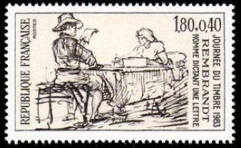 Journée du timbre - Homme dictant une lettre