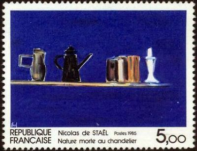''Nature morte au chandelier'' oeuve de Nicolas de Staël