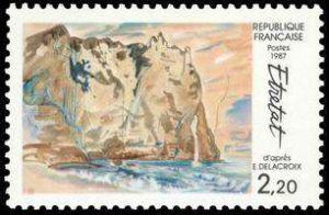 «Vue d'Etretat» d'après E Delacroix