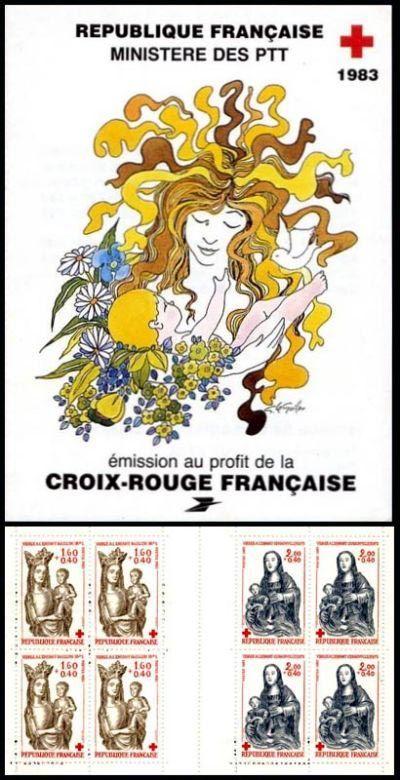 carnet croix rouge timbres de france mis en 1983. Black Bedroom Furniture Sets. Home Design Ideas