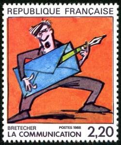 Claire Brétecher, ''Grand prix'' du festival d''Angoulème, illustre le timbre La communication