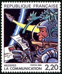 Jean-Claude Mézières, ''Grand prix'' du festival d''Angoulème, illustre le timbre La communication