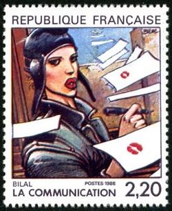 Enki Bilal, ''Grand prix'' du festival d''Angoulème, illustre le timbre La communication