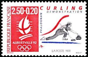 «Alberville 92» Jeux olympiques d'hiver 1992 à Alberville - Curling-démonstration - Pralognan
