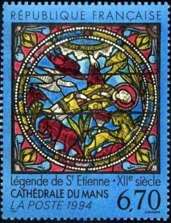 Vitrail roman de la cathédrale du Mans - La légende de Saint-Etienne (XIIe siècle)