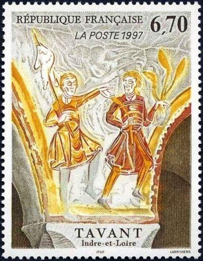 Fresques de Tavant (Indre et Loire) Scène avec deux personnages