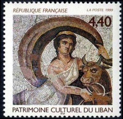 Patrimoine culturel du Liban, Détail de mosaïque « L'enlèvement d'Europe »