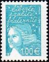 timbre N° 3455, Marianne de Luquet 1 € turquoise