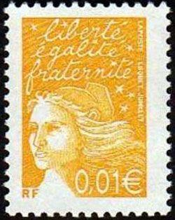 Marianne de Luquet 0,01 € jaune