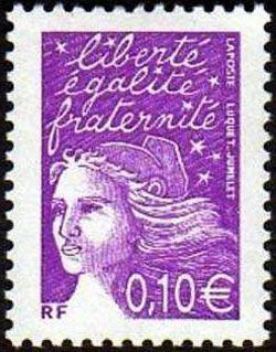 Marianne de Luquet 0,10€ violet-rouge