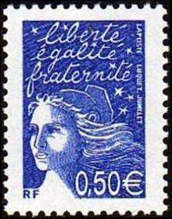 Marianne de Luquet 0,50 € bleu outremer