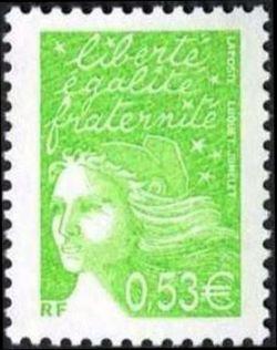 Marianne de Luquet 0,53 € vert-jaune