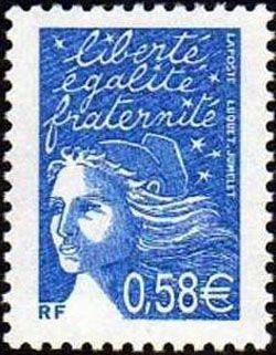 Marianne de Luquet 0,58 € bleu