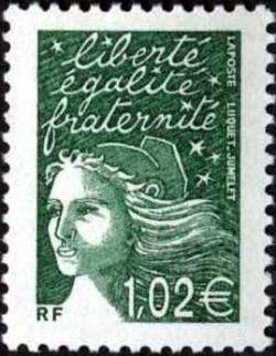 Marianne de Luquet 1,02 € vert foncé
