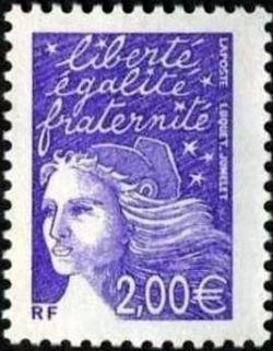 Marianne de Luquet 2 € violet-rouge