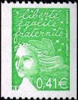 Marianne de Luquet 0,41 € vert pour roulette