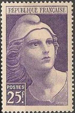 marianne de gandon timbre fran ais n 731 de couleur violet mis en 1945. Black Bedroom Furniture Sets. Home Design Ideas