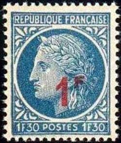 Timbre de 1945-47 (Cérès N° 678) surchargé