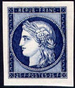 Centenaire du timbre Cérès 25F bleu