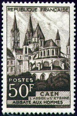 abbaye aux hommes fond e par guillaume le conqu rant caen timbres de france mis en 1951. Black Bedroom Furniture Sets. Home Design Ideas