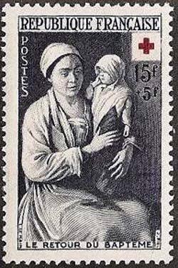 Croix rouge «Le retour du baptême» par Louis Le Nain (1593-1648)